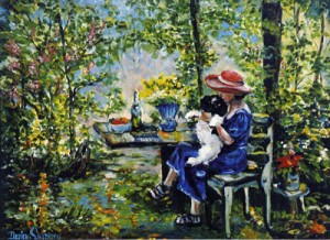 Lady with Dog in the Woods